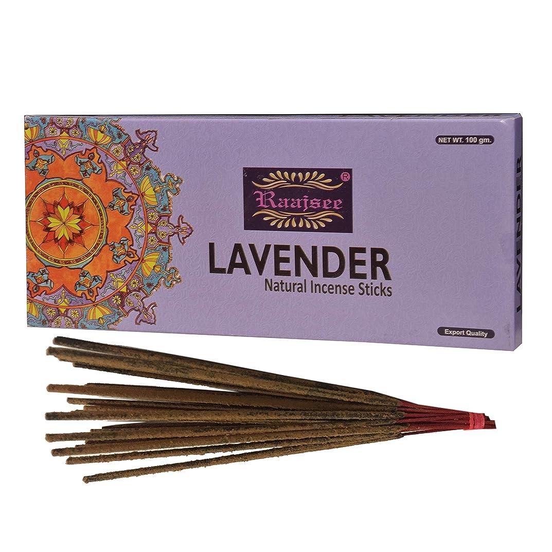 民兵フォーマットかる(Lavender) - Raajsee Lavender Incense Sticks 100 Gm Pack-100% Pure Organic Natural Hand Rolled Free From Chemicals-Perfect For Church,Aroma therapy,Relaxation,Meditation,Positivity & Sensual Therapy 100 gms pack