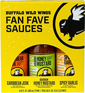 Buffalo Wild Wings Fan Fave Sauces - Caribbean Jerk, Bourbon Honey Mustard, and Spicy Garlic - Three 12 fl. oz. Bottles