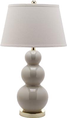 Safavieh Lighting Collection Pamela Light Grey Triple Gourd Ceramic 27-inch Bedroom Living Room Home Office Desk Nightstand Table Lamp (Set of 2) - LED Bulbs Included