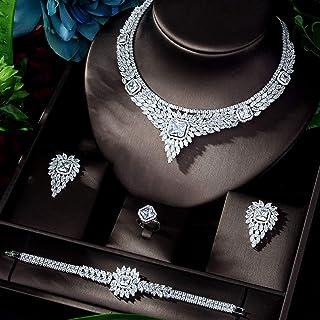 مجموعة مجوهرات عصرية للبنات جذاب من مجوهرات الزفاف مع أحجار كريستال لامعة زركونياز يانجين (اللون : مطلي بالذهب الأبيض)