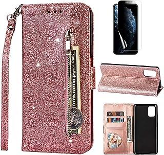 Artfeel - Funda con cremallera para Samsung Galaxy A41, diseño de purpurina, con cierre magnético, con correa de mano, col...