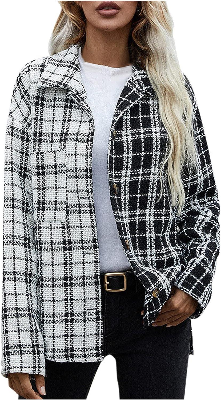 Rovga Women Lapel Collar Long Sleeve Plaid Coat Jacket Single-breasted Vintage Pocket Shirts Loose Causal Streetwear