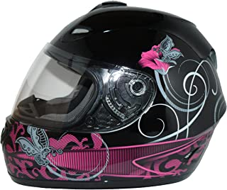 Protectwear Casco de moto púrpura negra disena flores  FS-801-SL Tamaño L