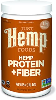 Just Hemp Foods Hemp Protein Powder Plus Fiber, Non-GMO Verified with 11g of Protein & 11g of Fiber per Serving, 16 oz - Packaging May Vary