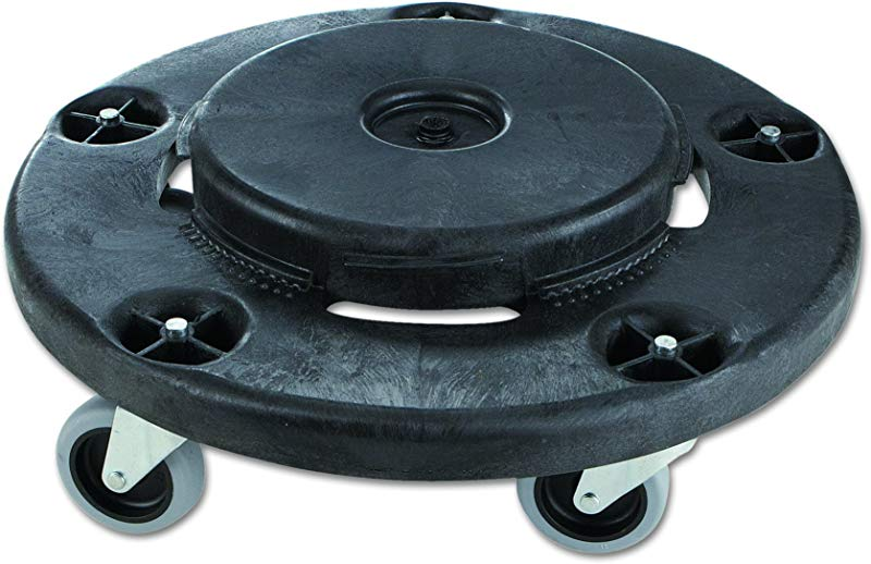 Rubbermaid Commercial Products BRUTE Twist On Off Round Dolly Black FG264000BLA