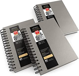 Arteza Sketch Book, 5.5x8.5-inch, 3-Pack, Gray Drawing Pads, 300 Sheets Total, 68 lb 100 GSM, Hardcover Sketchbook, Spiral-Bound, Use with Pencils, Charcoal, Pens, Crayons & Other Dry Media