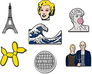 RipDesigns - 7 Pop Culture Artsy Enamel Pins for Backpacks   Enamel Pin Set   Backpack Pins   Cute Pins   Aesthetic Pins  ...