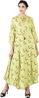 VOXVIDHAM Kurti Women's Cotton Printed Anarkali with 3/4 Sleeves Long Kurti