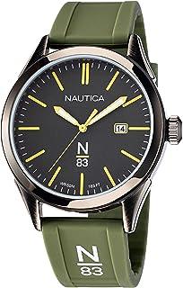 Nautica Men's Quartz Silicone Strap, Green, 20 Casual Watch (Model: NAPHBF120)