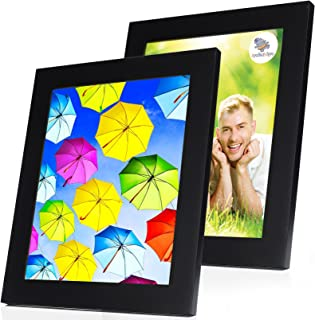 SpoiledHippo 8x10 Picture Frame Black with Mat (2 Pack) - Solid Wood Photo Frames with Glass - Wall Frame for 8 by 10 Inch Photos or Standing Table Top or Desk for Poster Collage Diploma Certificate