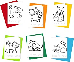 Coloring Cards: Cats and Dogs Thank You Cards Stationery Set - Greeting Cards for Kids to Color and Practice Letter Writing - 100% Recycled Thank You Notes with Envelopes - Blank Inside - Made in USA