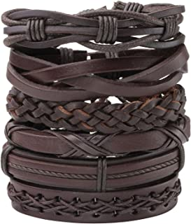 MILAKOO 8Pcs Black&Brown Braided Leather Bracelet for Men Women Cuff Beaded Bracelet Adjustable