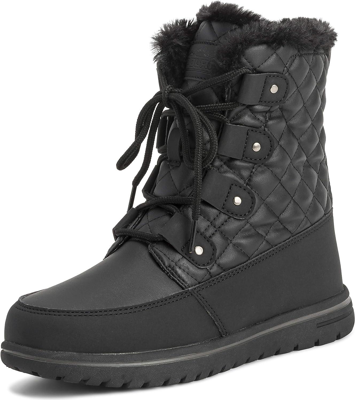 Womens Waterproof Durable Snow Winter Hiking Fleece Ankle Boots