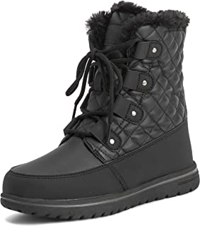 Polar Products Womens Quilted Short Faux Fur Snow Waterproof Winter Durable Warm Boots - 10 - BLK41 AYC0523
