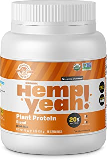 Manitoba Harvest Hemp Yeah! Organic Plant-Based Protein Powder, Unsweetened, 16oz; with 20g of Complete Plant Protein (Hem...