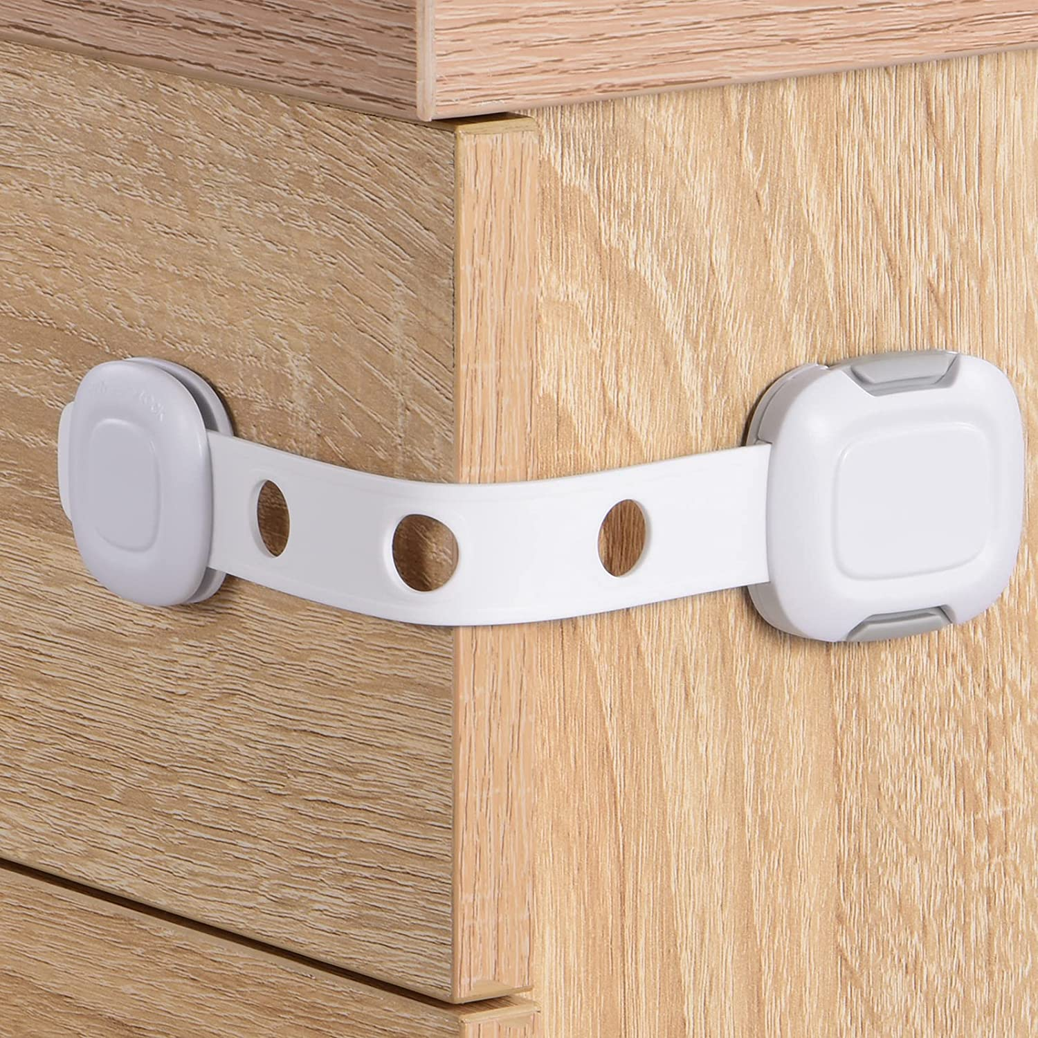 Babelio TAK Cabinet Straps Locks for Babies, Child Proof Safety Locks for Drawers, Baby Proof Latches for Kitchen, Furnitures, Strong Adhesive (2 Pack)