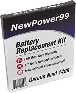 NewPower99 Battery Replacement Kit with Battery, Video Instructions and Tools for Garmin Nuvi 1490