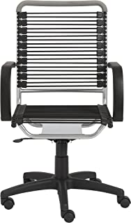Eurø Style Bungie High Back Adjustable Office Chair with Arms and Foam Top Cover, Black Bungies with Aluminum Frame