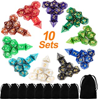 Awpeye 10 X 7 Polyhedral Dice Set (70 Pieces) for Dungeons and Dragons DND RPG MTG Table Games D4 D6 D8 D10 D% D12 D20 with 10 Pack Black Bags, 10 Colors