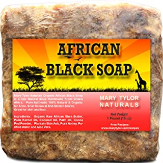 African Black Soap 1 lb by Mary Tylor Naturals, Raw, Natural soap for Acne, Eczema, Psoriasis, Scar Removal Face And Body Wash Authentic Handmade by a Fair Trade women Co-Op in Ghana Africa