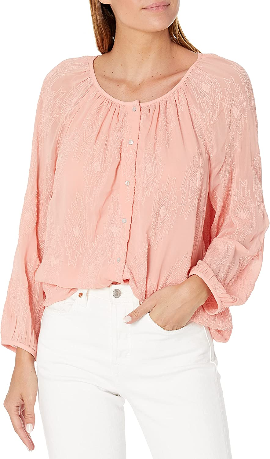 Lucky Brand Women's Geo Embroidered Button Through Peasant Top