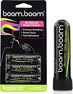 BoomBoom Aromatherapy Nasal Inhaler (3 Pack) Boosts Focus + Enhances Breathing   Provides Fresh Cooling Sensation   Made with Essential Oils + Menthol (Tropical)