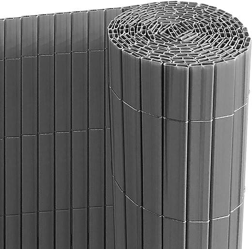 Ribelli® PVC Sichtschutzmatte mit Steg, extra stabil Sichtschutzzaun Sichtschutz Zaun Balkon Windschutz (90 x 500 cm, anthrazit)