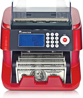 Bank Grade Bill Cash Counter by Carnation – Fast, User-Friendly Money Counting Machine – 4 Counterfeit Detection Functions (UV, MG, IR, DD) Works Worldwide - not a Denomination Counter