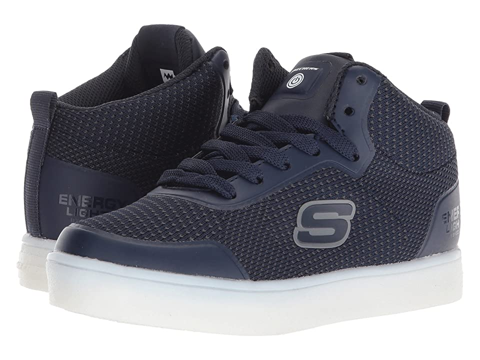 SKECHERS KIDS Energy 90608L Lights (Little Kid/Big Kid) (Navy Suede/Gray/Black Trim) Boy