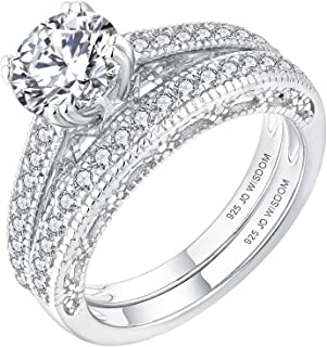 JO WISDOM Women Ring Bridal Sets,925 Sterling Silver Solitaire Engagement Wedding Anniversary Promise Ring with 7mm 5A Cub...