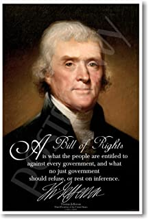 Thomas Jefferson - A Bill of Rights - American History Poster