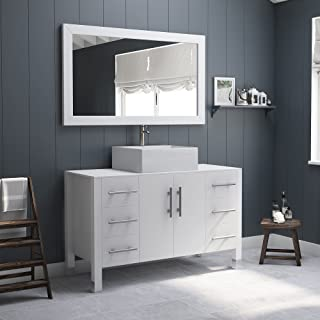 48 Inch White Wood & Porcelain Single Vessel Bathroom Vanity Set Brushed Nickel Faucet-