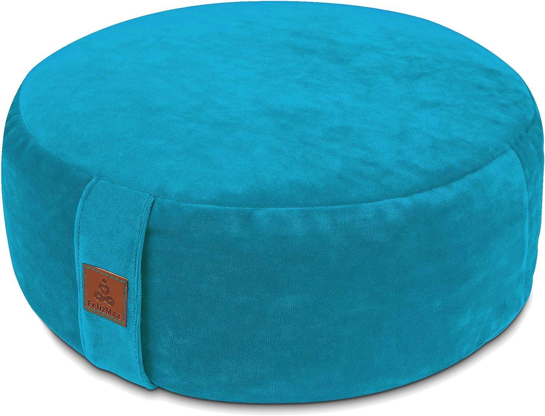 Zippered Premium Cover Floor Pouf Luxury Kneeling Pillow-Large//Small Round Velvet Meditation Pillow yoga seat cushion Zafu Buckwheat Meditation Cushion for Sitting on Floor Yoga Bolster