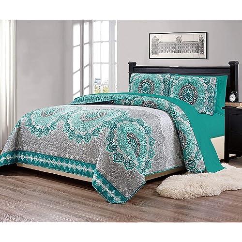 Queen Turquoise Bedspreads: Amazon.com