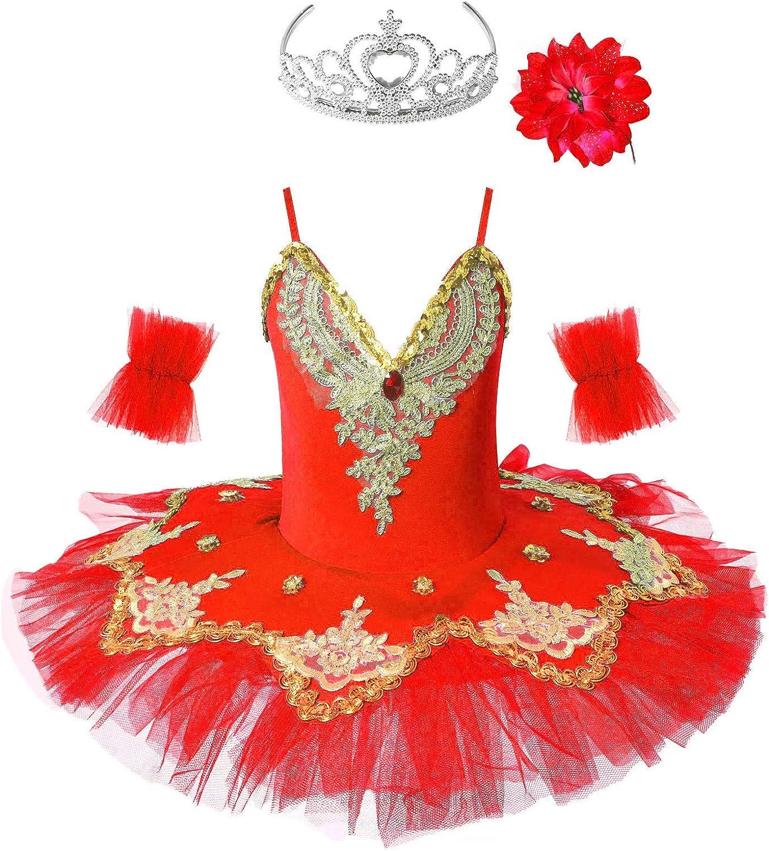 IEFIEL Vestido Maillot de Ballet Danza para Ni/ña Chica 4-12 A/ños Clip Tut/ú Flores Princesa Maillot Gimnasia Lentejuelas Brillantes Guantes