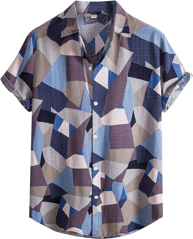 Wohelen Hawaiian Shirts for Men Funny Short Sleeve Tropical Beach Shirt Casual Summer Regular Fit Button Up Shirts