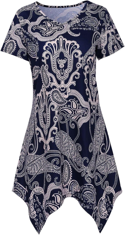 DREAGAL Womens Sexy V Neck Short Sleeve Floral Print Irregular Hem Summer Tunic Shirt