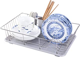 Basicwise QI003574 Drain Board and Utensil Cup Stainless Steel Dish Rack with Plastic, Large, Gray