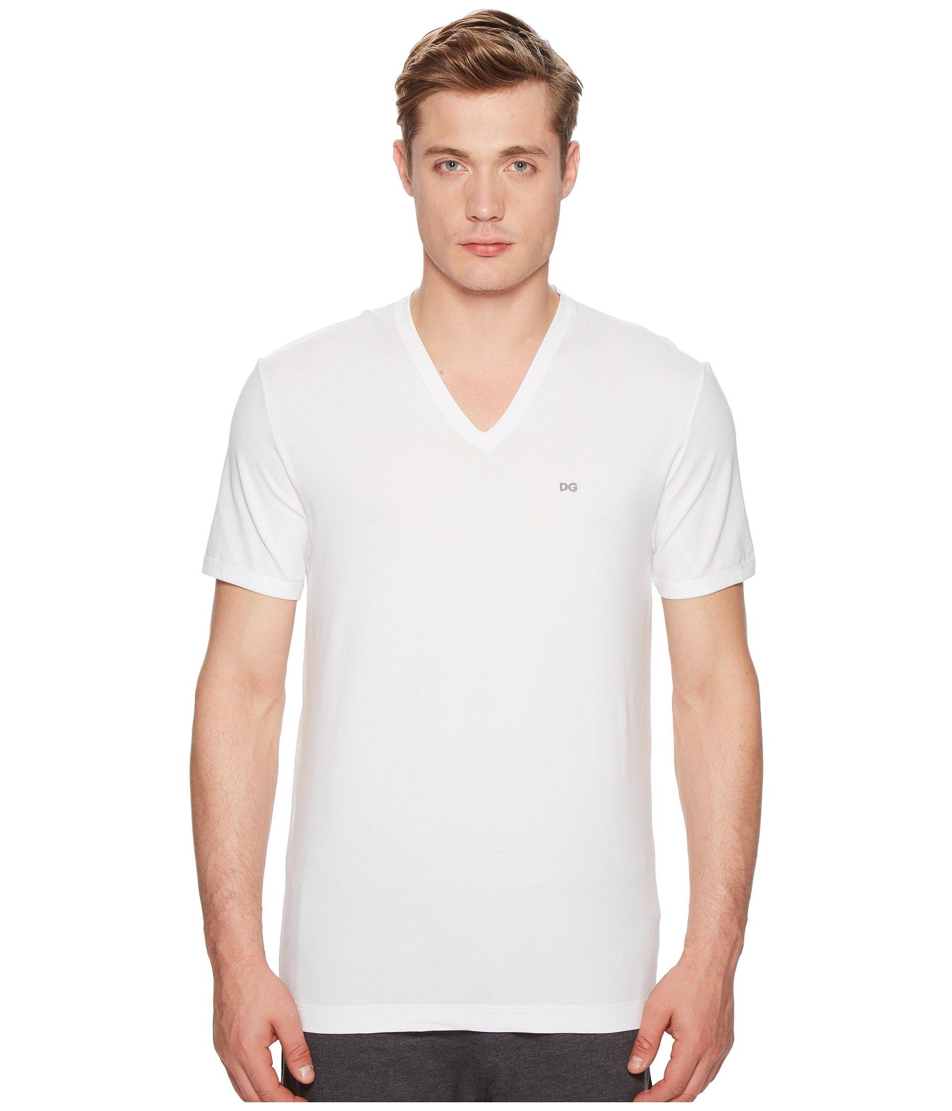 Camiseta para Hombre Dolce andamp; Gabbana Stretch Cotton V-Neck T-Shirt  + Dolce & Gabbana en VeoyCompro.net