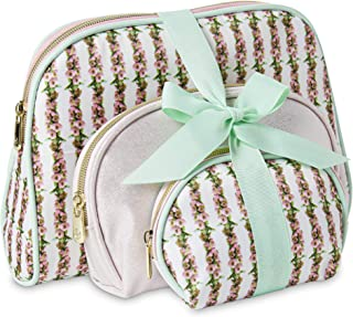 Set of 3 Dome Shape Cosmetic Bags with Bow