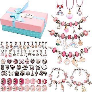 Pink /& Tan Charm Bracelet Set