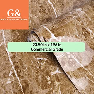Brown Marble Commercial Grade Contact Paper Self Adhesive Removable 23.50