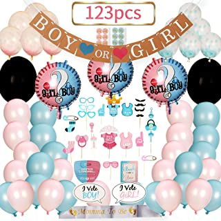 Baby Gender Reveal Party Supplies 123 PIECES | Gender Reveal Props | Gender Reveal Banner | Mom To Be Sash | Confetti Balloons | Team Boy Or Girl | Gender Reveal Decoration Kit With 123 Pieces