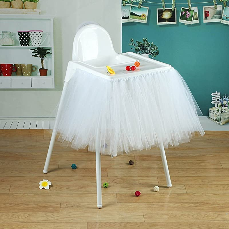 VLoveLife 40 X 14 White Tulle Tutu Skirt For High Chair Decor For 1st Birthday Party Baby Shower Decorations Favor