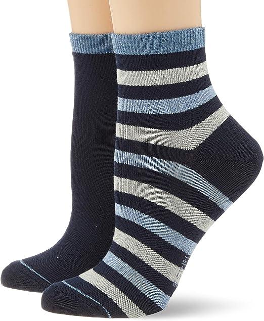 Unifarbener und gestreifter Kurzstrumpf im Doppelpack 2 Paar Baumwollmischung Gr/ö/ße 35-42 Farben ESPRIT Damen Socken Colorful Stripe 2er Pack versch