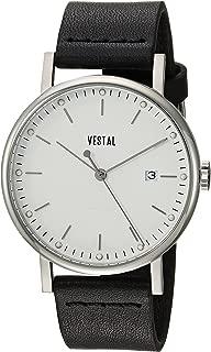 Vestal 'Sophisticate 36' Swiss Quartz Stainless Steel and Leather Dress Watch, Color Black (Model: SP36L03.BK)
