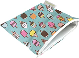 """Itzy Ritzy Reusable Snack Bag – 7"""" x 7"""" BPA-Free Snack Bag is Food Safe, Washable and Ideal for Storing Snacks, Pacifiers, Electronics and Makeup in a Diaper Bag, Purse or Travel Bag, Ice Cream Social"""