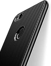 J Jecent Funda Huawei P8 Lite 2017 [Textura Fibra de Carbono] Carcasa Ligera Silicona Suave TPU Gel Bumper Case Cover de Protección Antideslizante [Anti-Rasguño] [Anti-Golpes] Caso de - Negro