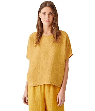 Eileen Fisher Petite Round Neck Boxy Top in Washed Organic Linen Delave