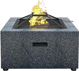 Utanför eldstaden, eldstaden med grill;Stål eldskål på 70 cm med en konstgjord stenkant och vattentätt lock för trädgårds...